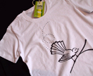 Moki Organic T-Shirt with Chocolate Flighty Fantail print