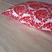 Beautiful Cushion Cover - Gorgeous Handprinted Red & White Demask!