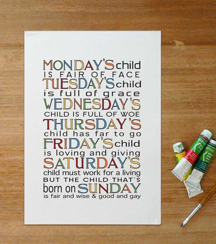 Nursery Art Monday S Child Is Full Of Grace Felt