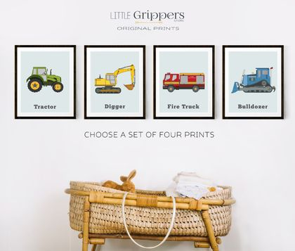 Boys vehicle wall art set, A3 prints