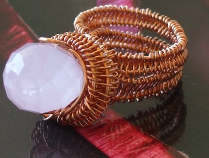 Dramatic Rose Quratz Woven Ring