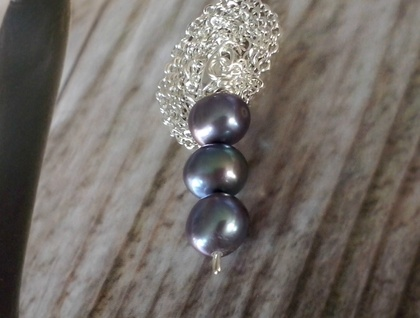 Three Pearl Drop Pendant Necklace