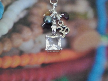 Beautiful Faceted White Sapphire set in 925 Sterling Silver on a Cluster Pendant