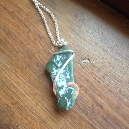 Greenstone Cold Forged Sterling Silver Pendant