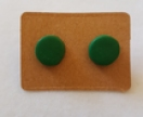 TITANIUM Small Circle Studs - Emerald