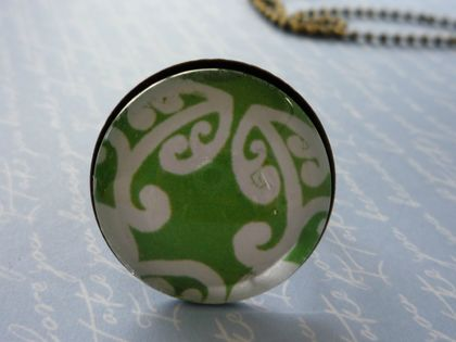 Green & White Koru Ring