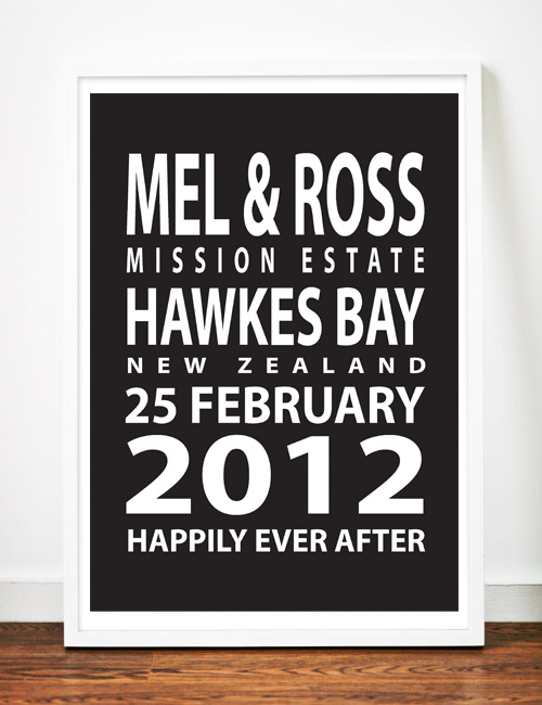 Personalised Wedding Anniversary Gifts Nz : Personalised Wedding Anniversary Print - Bus Blind inspired Felt
