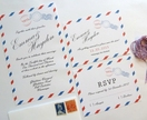 Airmail Wedding Stationery Set: Invitations & RSVPs (other matching items available)