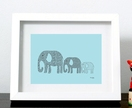 Elephants in Tow Print (baby blue with black pattern detailing)