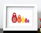 Russian Dolls 'all lined up' Print (Colour)