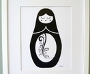 Russian Doll Print (Black and White)