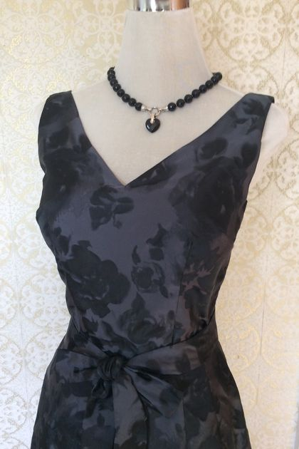 She Stayed Out Past Midnight-Vintage Inspired-1950s-Pencil Dress-Midnight Rose-Silk Taffeta-Wedding-Bridesmaid-New Zealand
