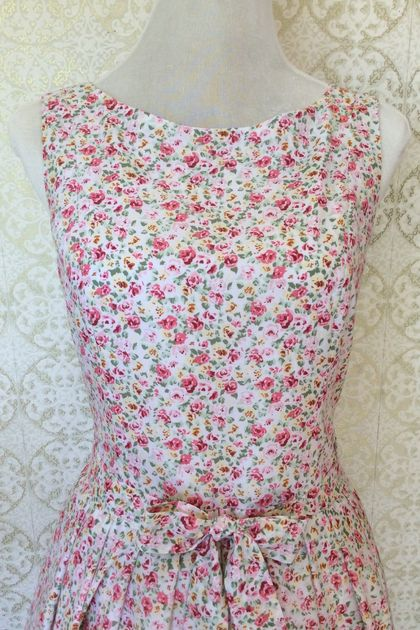 Gardeners Delight - Vintage Inspired Cotton blend Floral Dress-Made in New Zealand-Wedding-Party-Bridesmaid