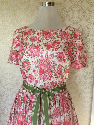 Vintage Sweet - Vintage Inspired Polished Cotton Floral Dress-Made in New Zealand-Wedding-Party-Bridesmaid