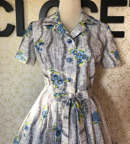 Cornflower Blue - Vintage Inspired - Floral - Dress - Shirt Waisted - Handmade in New Zealand