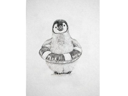 Baby Penguin A4 Digital Art Print