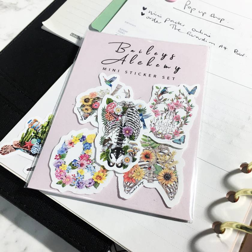 Vinyl MINI Sticker Pack - Bones and Flowers