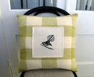 Fantail cushion - green check