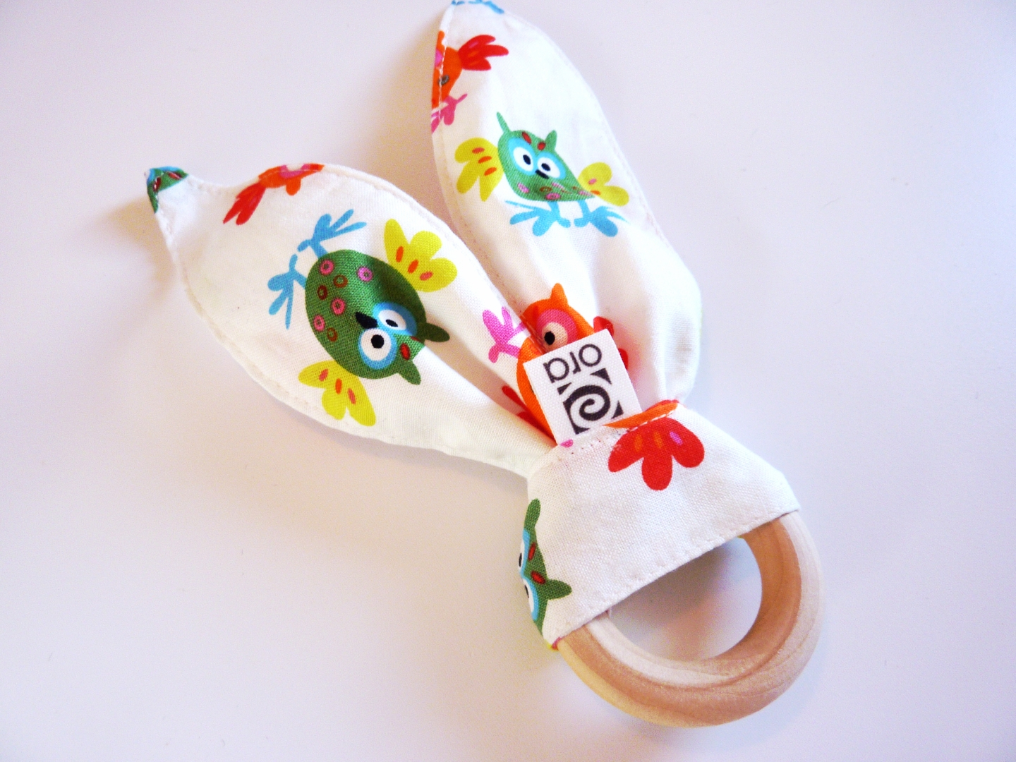 Organic Baby Toys : Organic baby teething ring with bunny ears easter
