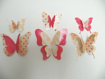 "3d Butterfly Wall Decor ""GoldenRed"" Set"