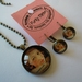 "Glass dome pendant with glass dome earrings , vintage woman ""domestically disabled"""