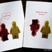 I LOVE YOU or HEAD OVER HEELS FOR YOU Minifig Greeting Card