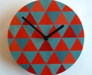 Objectify Blue Red Triangle Wall Clock