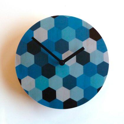 Objectify Blue Hex Wall Clock