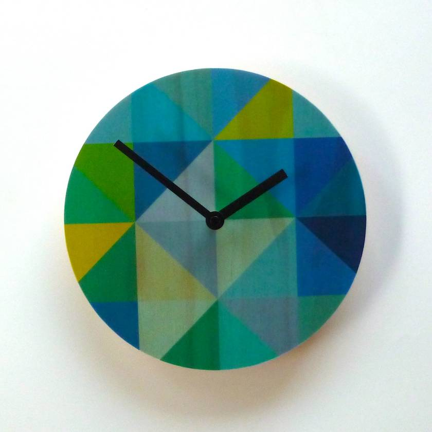Objectify Grid Blue/Green Wall Clock