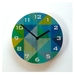 Objectify Grid Blue/Green with Numerals Wall Clock - Medium Size
