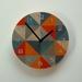 Objectify Grid Grey Orange with Numerals Wall Clock - Medium Size