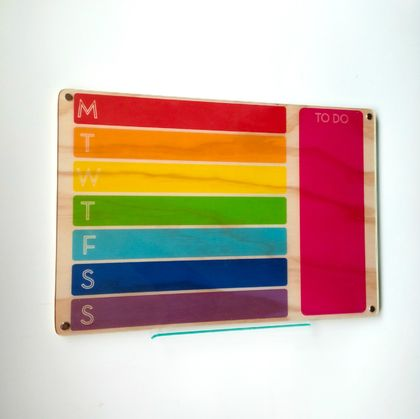 Objectify Rainbow Print Weekly Wall Planner Board