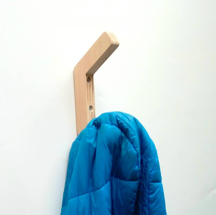 "Objectify Wooden Plywood ""J"" Wall Hook"