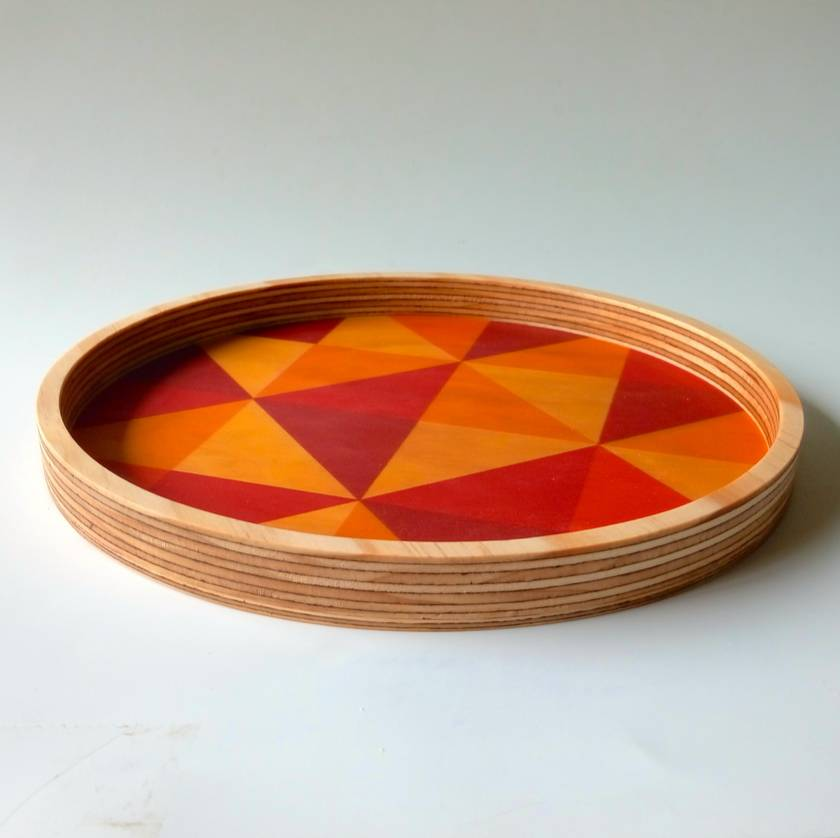Objectify Grid Red/Orange Printed Plywood Bowl or Tray