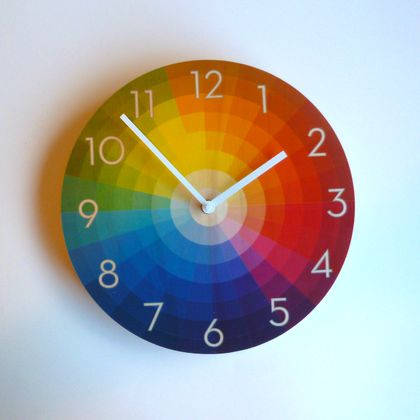 Objectify Colour Wheel with Neutra Numerals Wall Clock - Medium Size