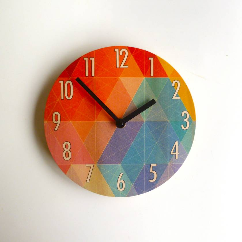 Objectify Nazca Print with Large Numbers Wall Clock