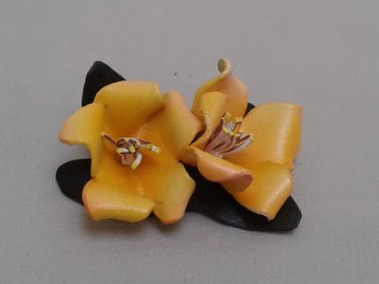 SALE -Yellow Rhododendron Brooch