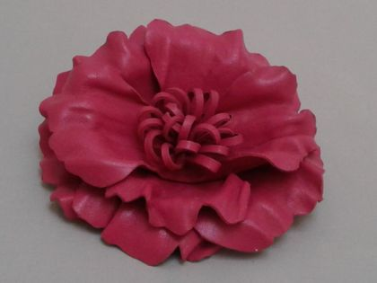Pink Leather Flower Brooch