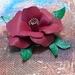Red/Burgundy Leather Flower Brooch