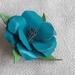 Teal Blue Leather Flower Brooch