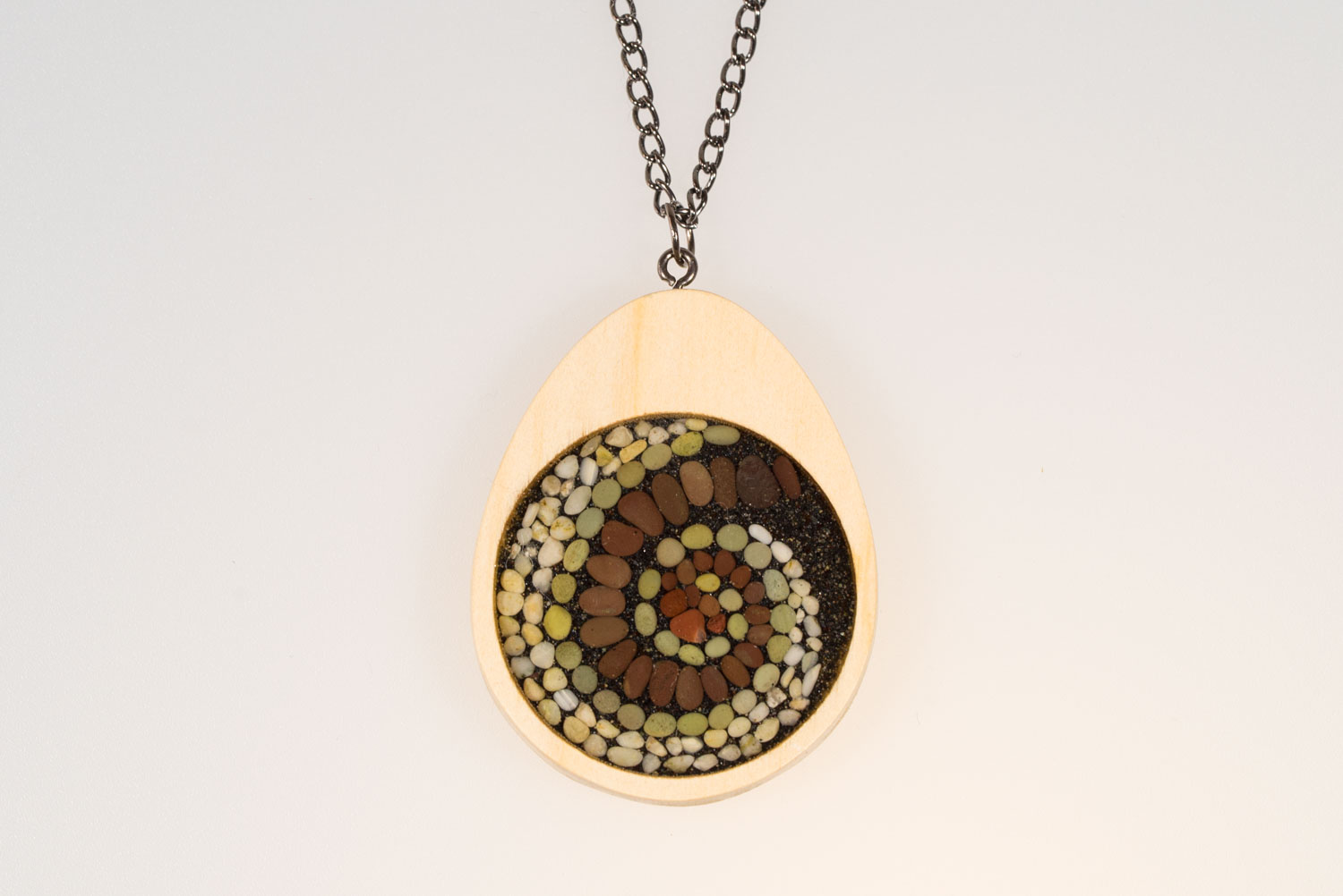 Beach pebble and wood mini mosaic original art pendant felt
