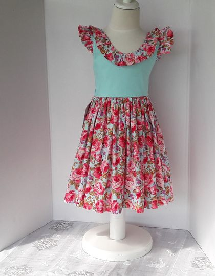 100% Cotton - Bright Peach Roses on Aqua and Aqua Bodice with Contrast Frill & Flutters - Size/Age 2