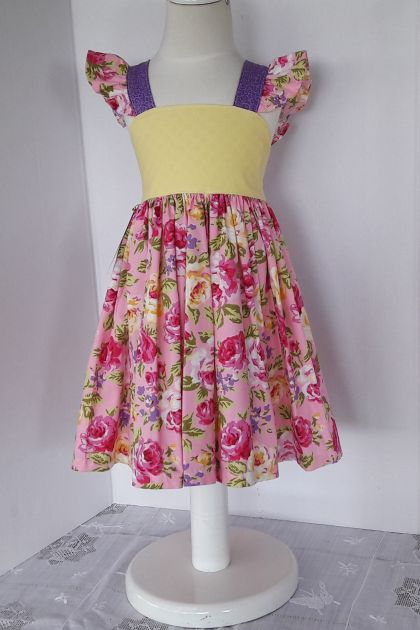 100% Cotton - Bright Pink, Pale Yellow and Purple Floral Flutter Sleeve Dress Size/Age