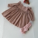 A Sweet Little Winter Dress - Soft Cotton Cheesecloth Fabric (Optional Flutter Trim on Sleeve & Elastic Cuff). Available by order.