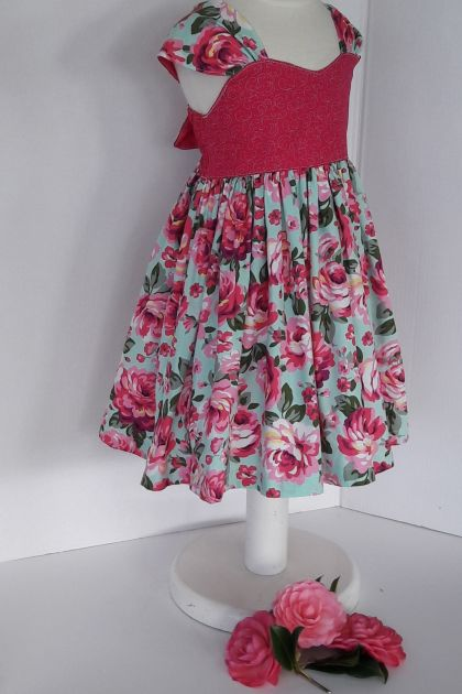 Another beautiful cotton rose cap sleeve dress - Available in Size 6