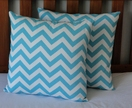 AQUA BLUE CHEVRON CUSHION COVER