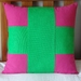 PINK & GREEN CROSS CUSHION COVER