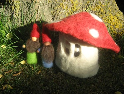 Hand-felted TOADSTOOL HOUSE made from 100% NZ wool.