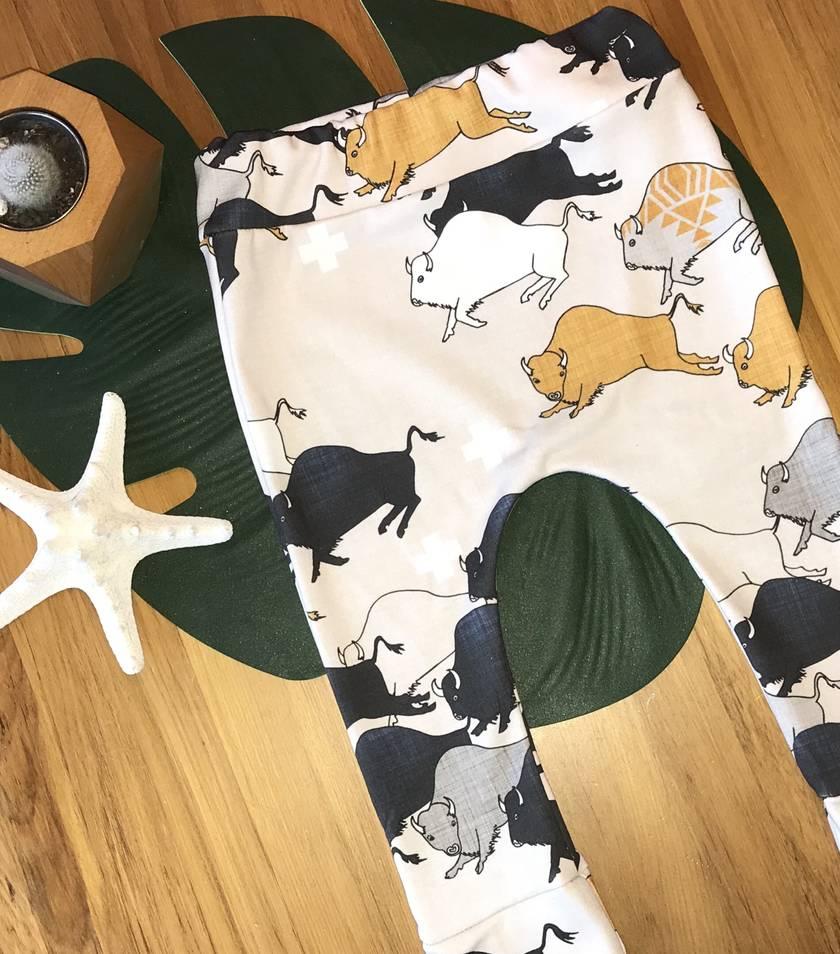 Organic leggings - Buffalo stampede