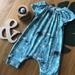 Organic cotton Aqua and Teal stampede playsuit